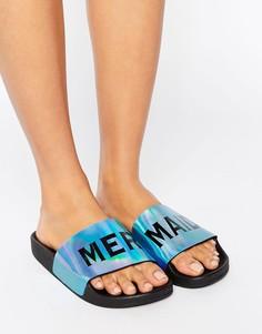 Переливающиеся сандалии-слайдеры TheWhiteBrand Mermaid - Синий