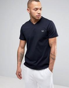 Темно-синяя футболка с V-образным вырезом и логотипом Fred Perry - Темно-синий