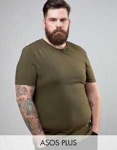 Зеленая обтягивающая футболка с круглым вырезом ASOS PLUS - Зеленый