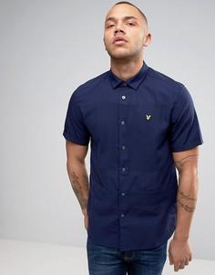 Темно-синяя рубашка классического кроя из ткани пике Lyle & Scott - Темно-синий
