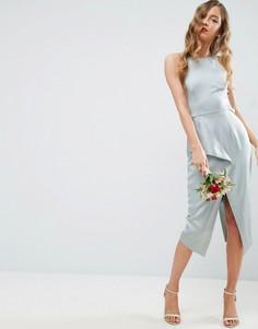 Платье-футляр миди с драпировкой на спине ASOS WEDDING - Зеленый