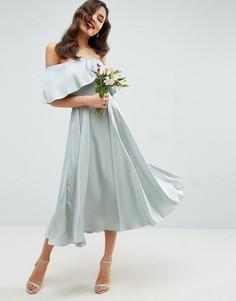 Платье миди с широким вырезом и отворотом ASOS WEDDING - Зеленый