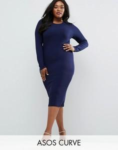 Облегающее платье миди в рубчик с длинными рукавами ASOS CURVE - Темно-синий
