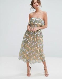 Платье миди без бретелек с вышивкой в виде цветов True Violet - Мульти