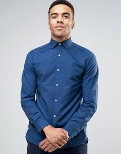 Фактурная узкая премиум-рубашка Jack & Jones - Синий