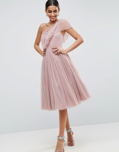 Платье миди на одно плечо из тюля ASOS - Фиолетовый