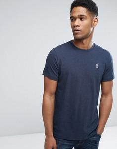 Меланжевая футболка с круглым вырезом Psycho Bunny - Темно-синий