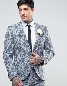 Супероблегающий свадебный пиджак с цветочным принтом Noose & Monkey - Синий