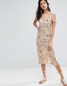 Сарафан миди с открытыми плечами и цветочным принтом ASOS - Мульти