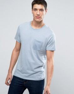 Футболка в полоску с контрастным карманом Selected Homme - Синий