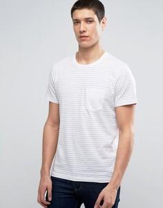 Футболка в полоску с контрастным карманом Selected Homme - Белый