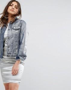 Джинсовая куртка с эффектом металлик Liquor & Poker - Синий