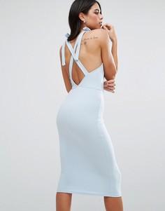 Платье миди с запахом и перекрестами на спине Oh My Love - Синий