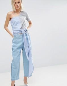 Топ с открытыми плечами и отделкой в рубашечном стиле ASOS - Мульти