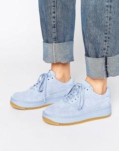 Голубые замшевые кроссовки премиум на платформе Nike Air Force 1 Upstep - Синий
