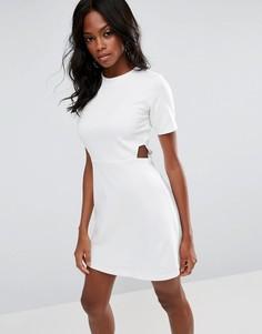 Платье мини с вырезами ASOS - Белый