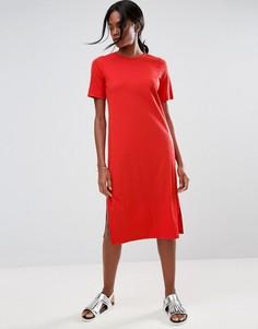 Платье-футболка миди в крупный рубчик ASOS - Красный