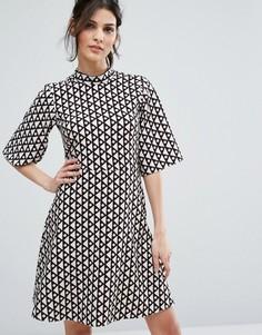 Свободное платье с высоким воротником Closet London - Мульти