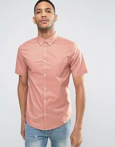 Розовая рубашка классического кроя из поплина с короткими рукавами New Look - Розовый