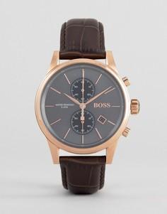 Часы-хронограф с коричневым кожаным ремешком BOSS By Hugo Boss 1513281 Jet - Коричневый