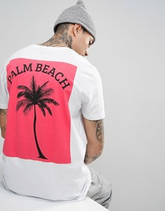 Длинная футболка с принтом пальмы на спине ASOS - Белый