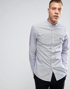 Узкая темно-синяя рубашка в полоску без воротника Lindbergh - Темно-синий