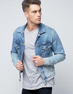Джинсовая куртка с выбеленным эффектом Pepe - Синий