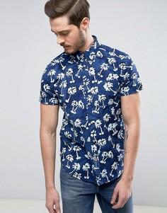 Рубашка классического кроя с короткими рукавами и пальмовым принтом Wrangler - Синий