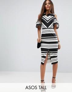 Черно-белое платье-футляр в полоску с вырезами на плечах ASOS TALL - Мульти