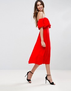 Платье миди для выпускного со спущенными плечами ASOS - Красный