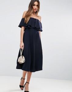 Платье миди для выпускного со спущенными плечами ASOS - Темно-синий