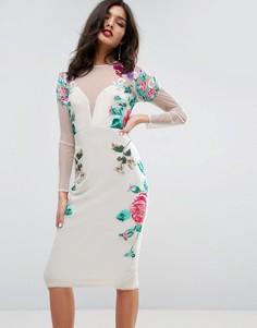 Платье миди с цветочной вышивкой ASOS - Мульти