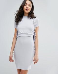 Ярусное платье в рубчик с оборками Lost Ink - Серый