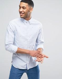 Темно-синяя оксфордская рубашка в полоску с вышивкой флага Tommy Hilfiger - Темно-синий