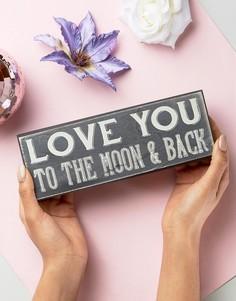 Прямоугольная рамка с надписью  Love You to the Moon & Back Sass & Belle - Мульти