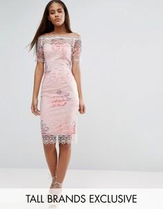 Кружевное платье-футляр с широким вырезом и цветочным принтом Paper Dolls Tall - Мульти