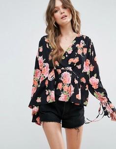 Oversize-блузка с запахом и цветочным принтом ASOS - Мульти