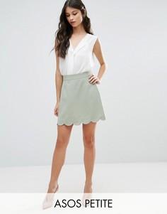 Мини юбка-трапеция с фактурной отделкой по краю ASOS PETITE - Зеленый