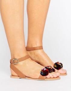 Кожаные сандалии с помпонами из рафии ASOS FANATIC - Рыжий