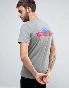 Эксклюзивная серая меланжевая футболка с принтом горы и логотипом на спине Penfield - Серый