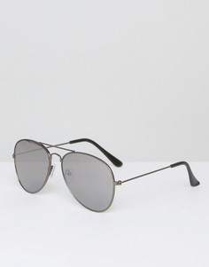 Солнцезащитные очки-авиаторы с плоскими стеклами South Beach - Черный