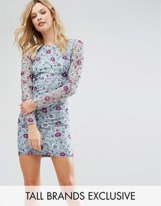 Платье-футляр премиум с вышивкой и пайетками Frock And Frill Tall - Синий