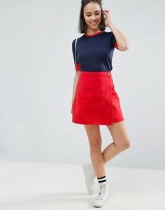 Красная джинсовая юбка с запахом ASOS - Черный