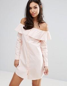 Платье-рубашка с открытыми плечами Fashion Union - Розовый