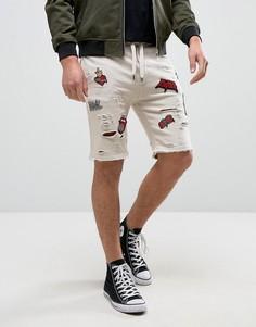 Бежевые рваные шорты с нашивками Black Kaviar - Бежевый