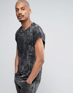 Свободная черная футболка без рукавов с эффектом кислотной стирки Black Kaviar - Черный