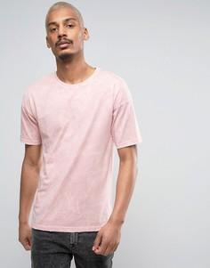 Свободная розовая футболка с эффектом кислотной стирки Black Kaviar - Розовый