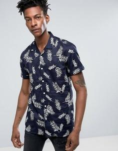 Темно-синяя узкая рубашка с короткими рукавами и гавайским принтом Minimum Maceo - Темно-синий