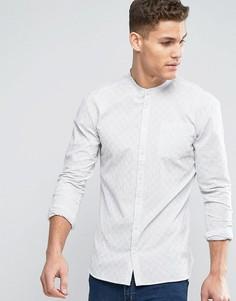 Белая приталенная тканая рубашка в полоску с воротником на пуговице Minimum Justo - Кремовый