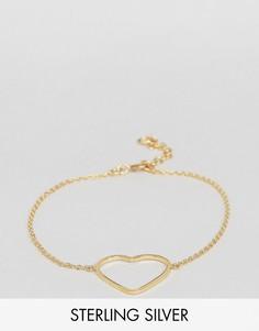 Браслет из позолоченного серебра с сердцем ASOS - Золотой